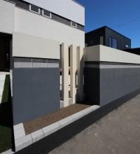 札幌 塗り壁にブロックラインアクセント☆スタイリッシュなウォール