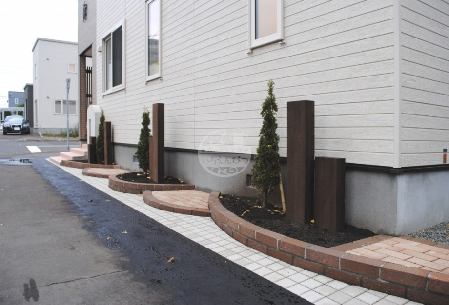 札幌市 花壇 ケンパス レンガ