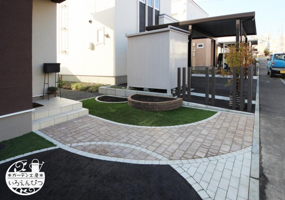 札幌 外構 曲線アプローチ