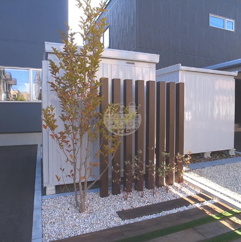 札幌市 スリットフェンス タカショー 枕木 ケンパス