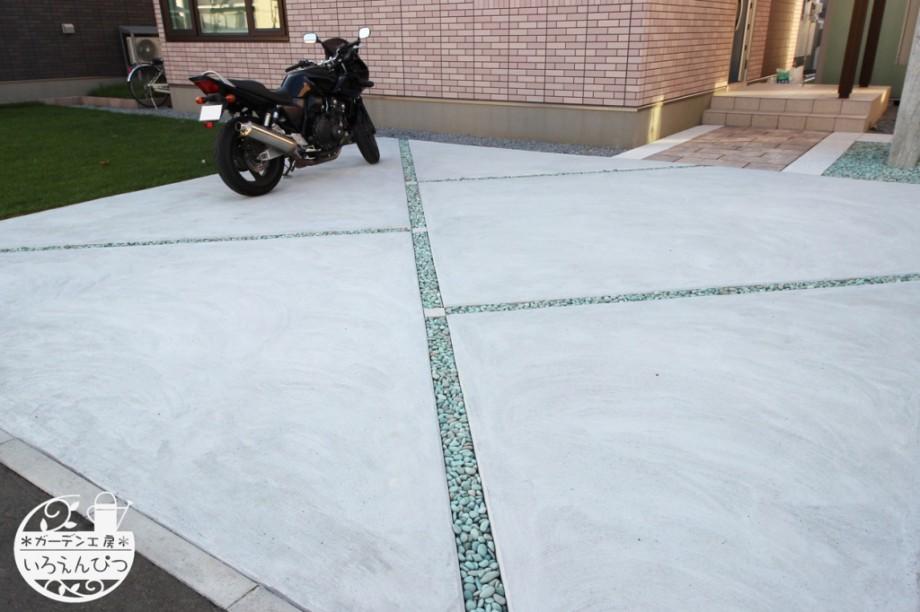 土間コンクリート 斜めライン